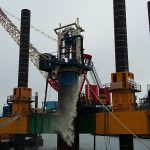 combifloat modular jack up barge with drill for piledriving work