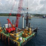 Combifloat modular jack up working on piledriving project jetty