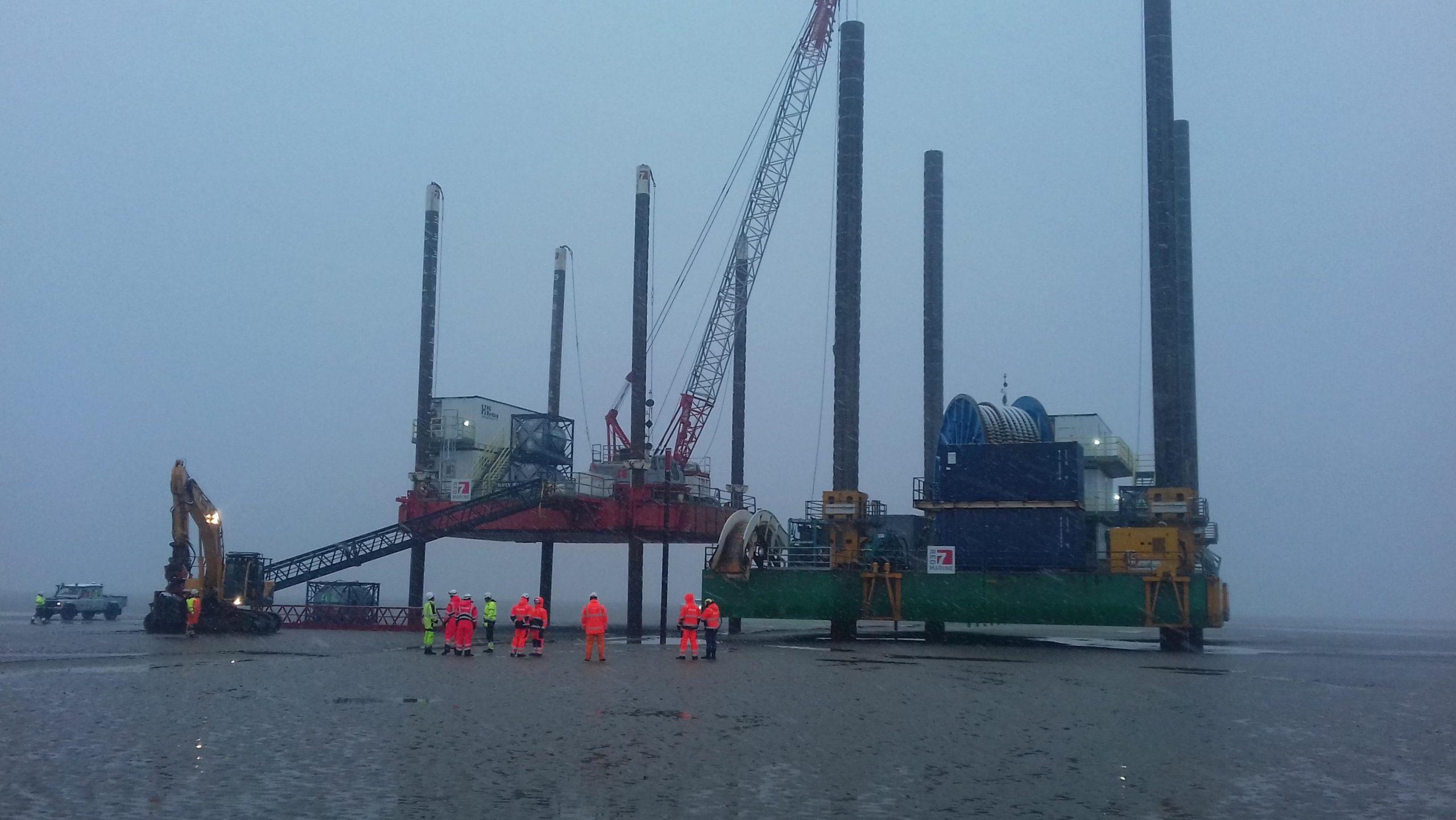 modular jack up barge in surf area walney
