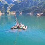 modular barge in lake with crane