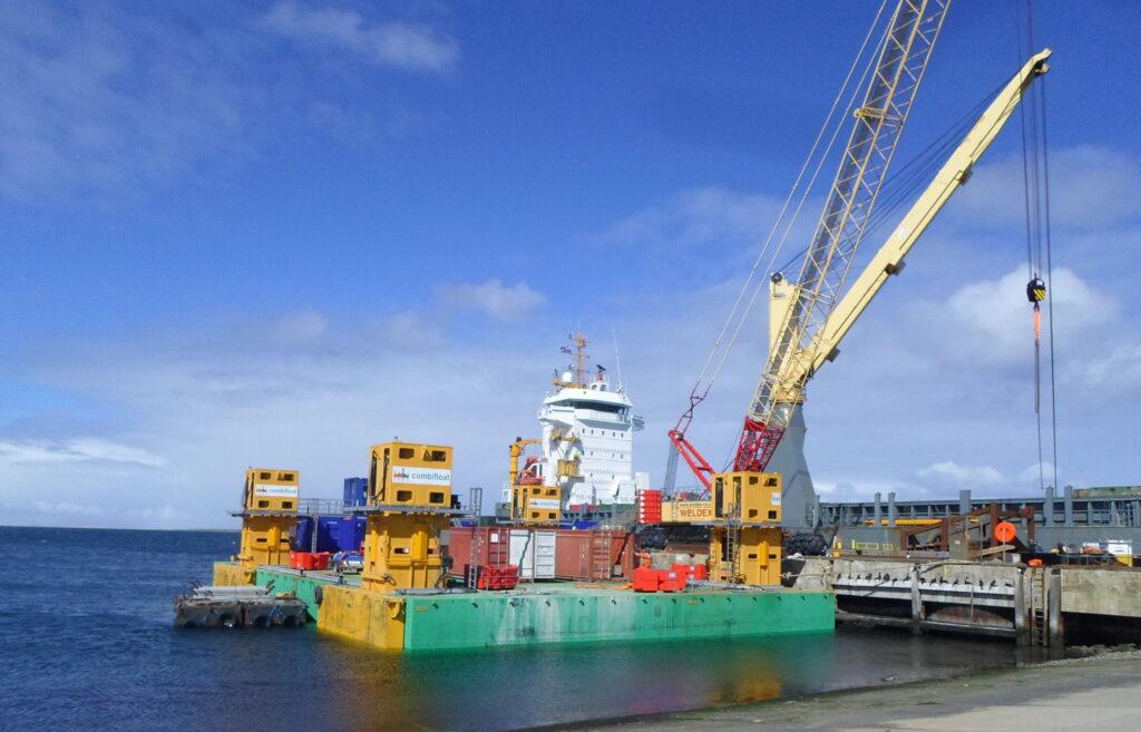 Combifloat C9 modular jack up barge self elevating platform Falklands