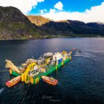 Combifloat Cable lay barge in Norwegian lake